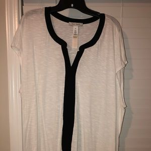 Black and white rayon top